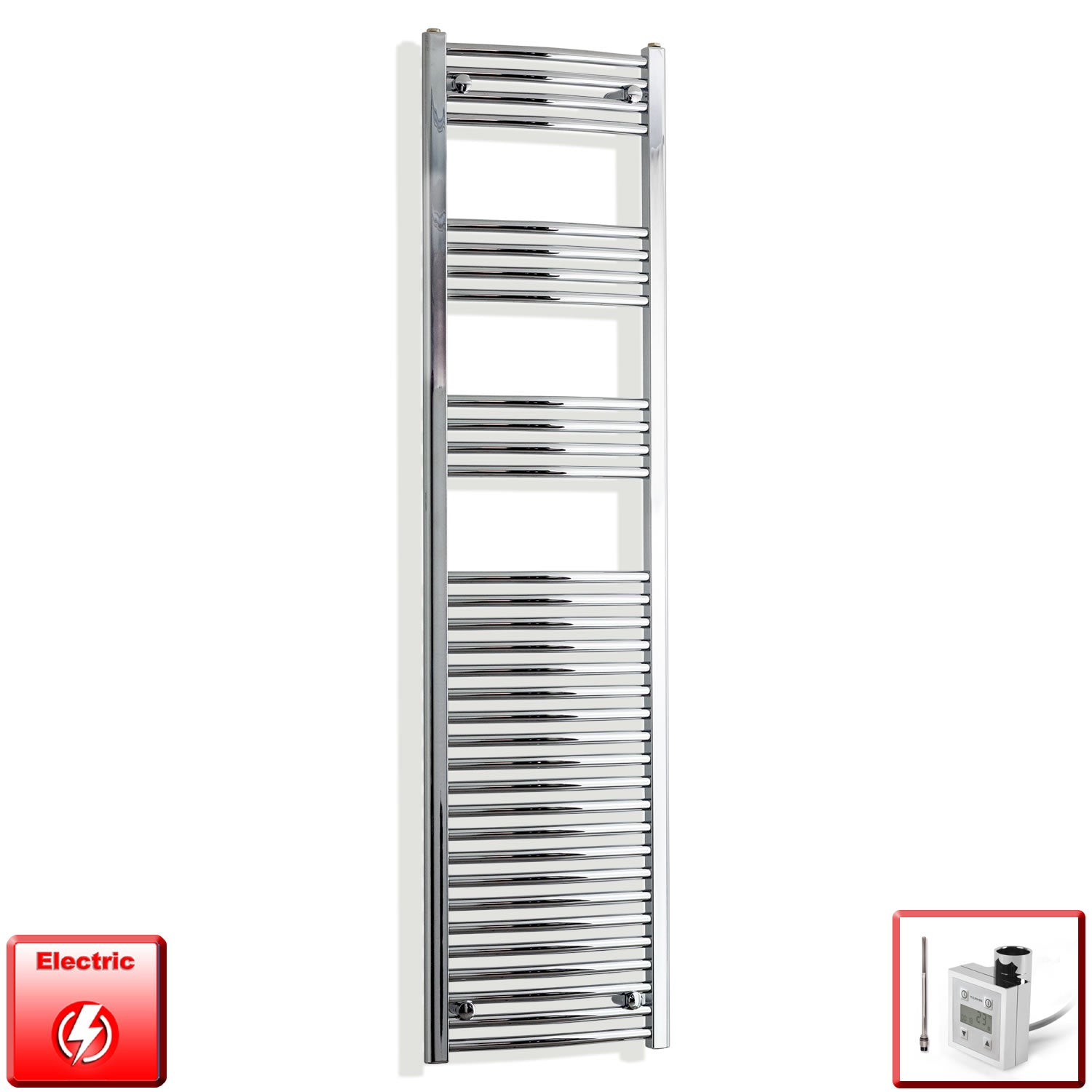 450mm Wide 1800mm High Curved Chrome Pre-Filled Electric Heated Towel Rail Radiator HTR,KTX-3 Thermostatic Element