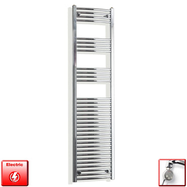 450mm Wide 1800mm High Curved Chrome Pre-Filled Electric Heated Towel Rail Radiator HTR,MEG Thermostatic Element