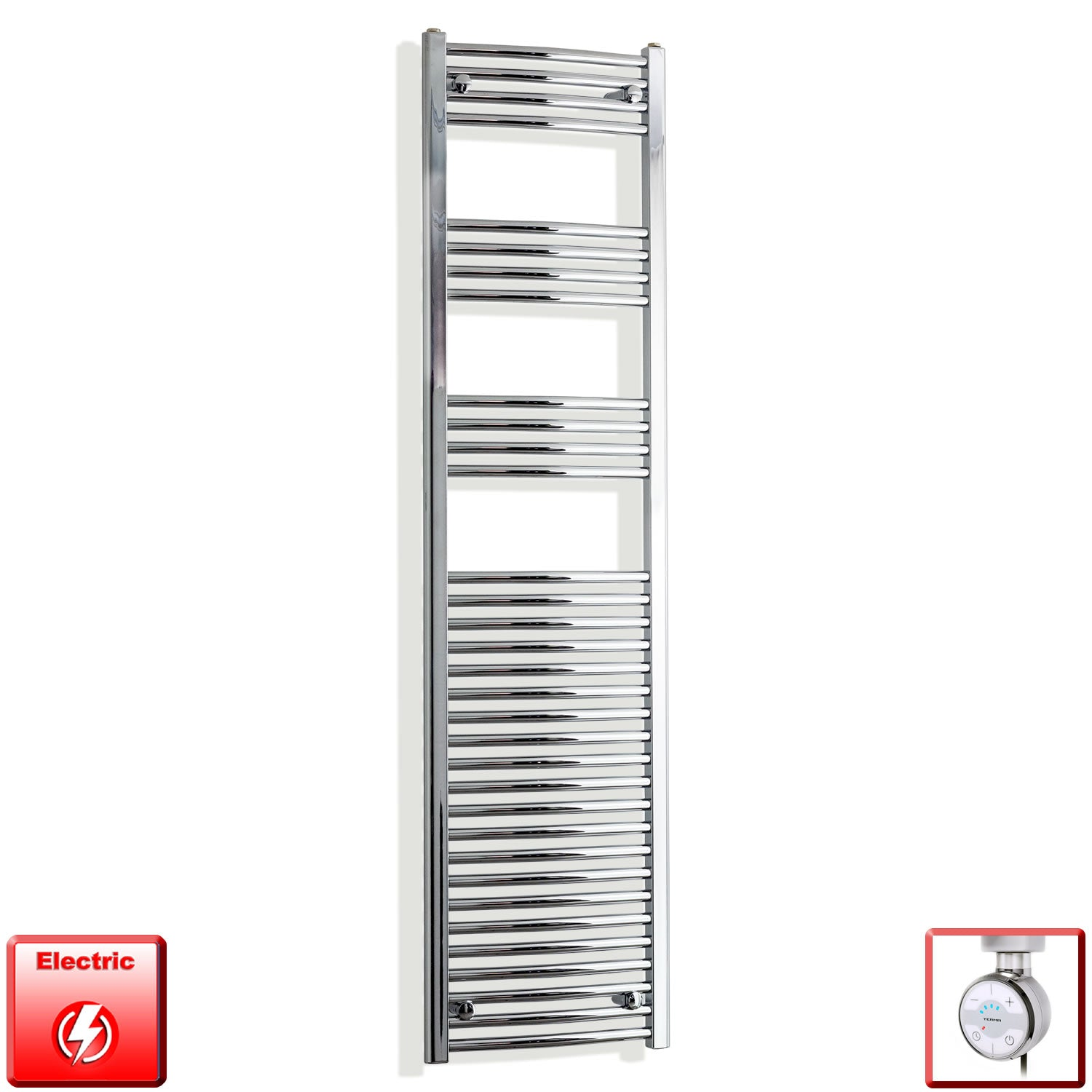 450mm Wide 1800mm High Curved Chrome Pre-Filled Electric Heated Towel Rail Radiator HTR,MOA Thermostatic Element