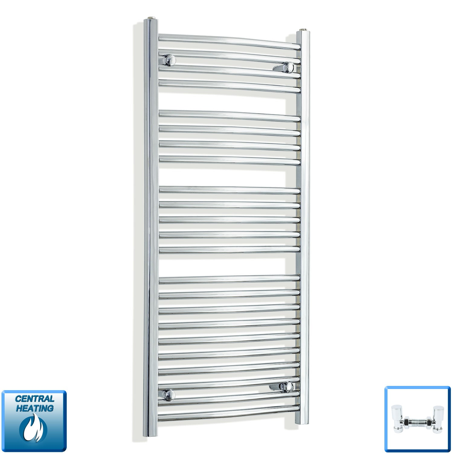 550 x 1200 Curved Chrome Heated Towel Rail Radiator Gas or Electric,With Angled Valve