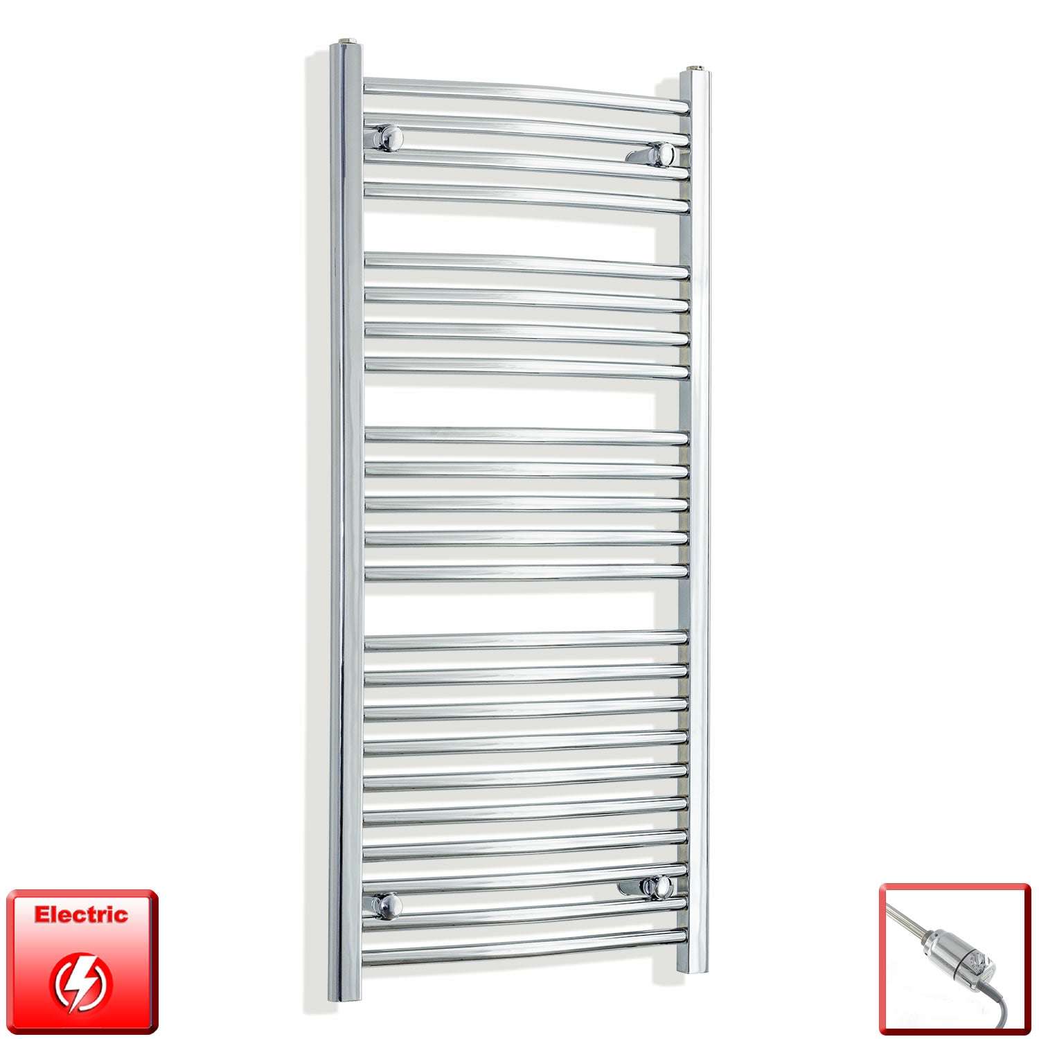 550 x 1200 Curved Chrome Heated Towel Rail Radiator Gas or Electric,Pre-Filled Thermostatic Element