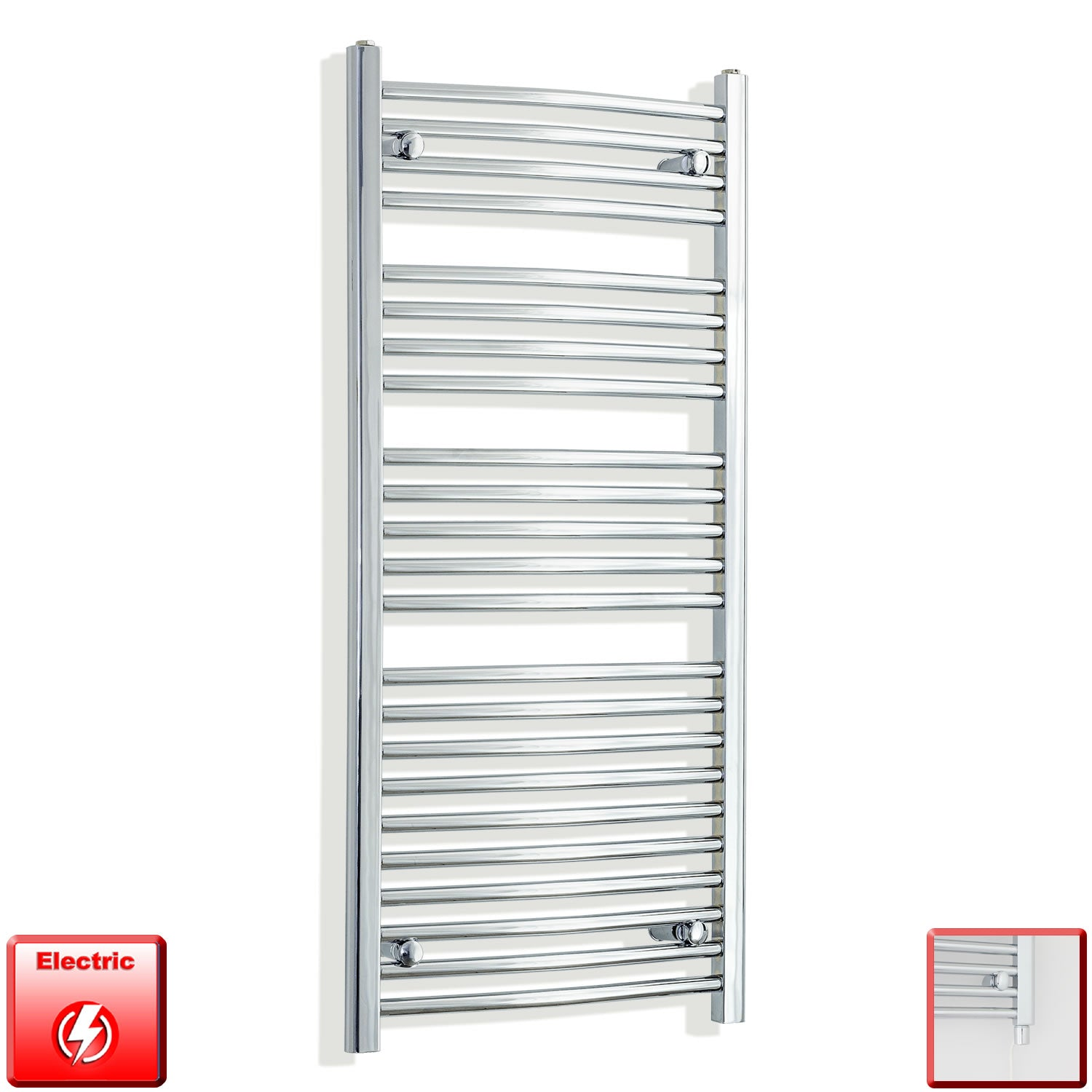 550 x 1200 Curved Chrome Heated Towel Rail Radiator Gas or Electric,Pre-Filled Single Heat Element