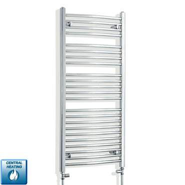 550 x 1200 Flat Chrome Heated Towel Rail Radiator Gas or Electric,With Straight Valve