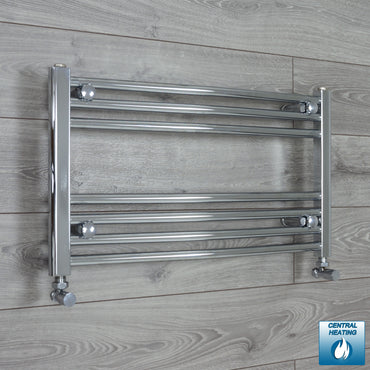 600mm Wide 400mm High Curved Chrome Heated Towel Rail Radiator HTR,With Angled Valve