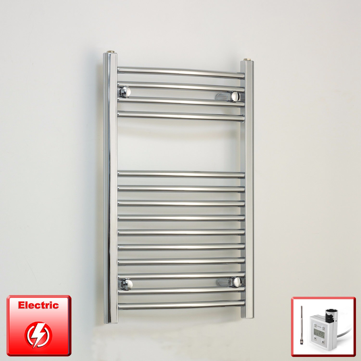 500mm Wide 800mm High Flat Or Curved Chrome Pre-Filled Electric Heated Towel Rail Radiator HTR