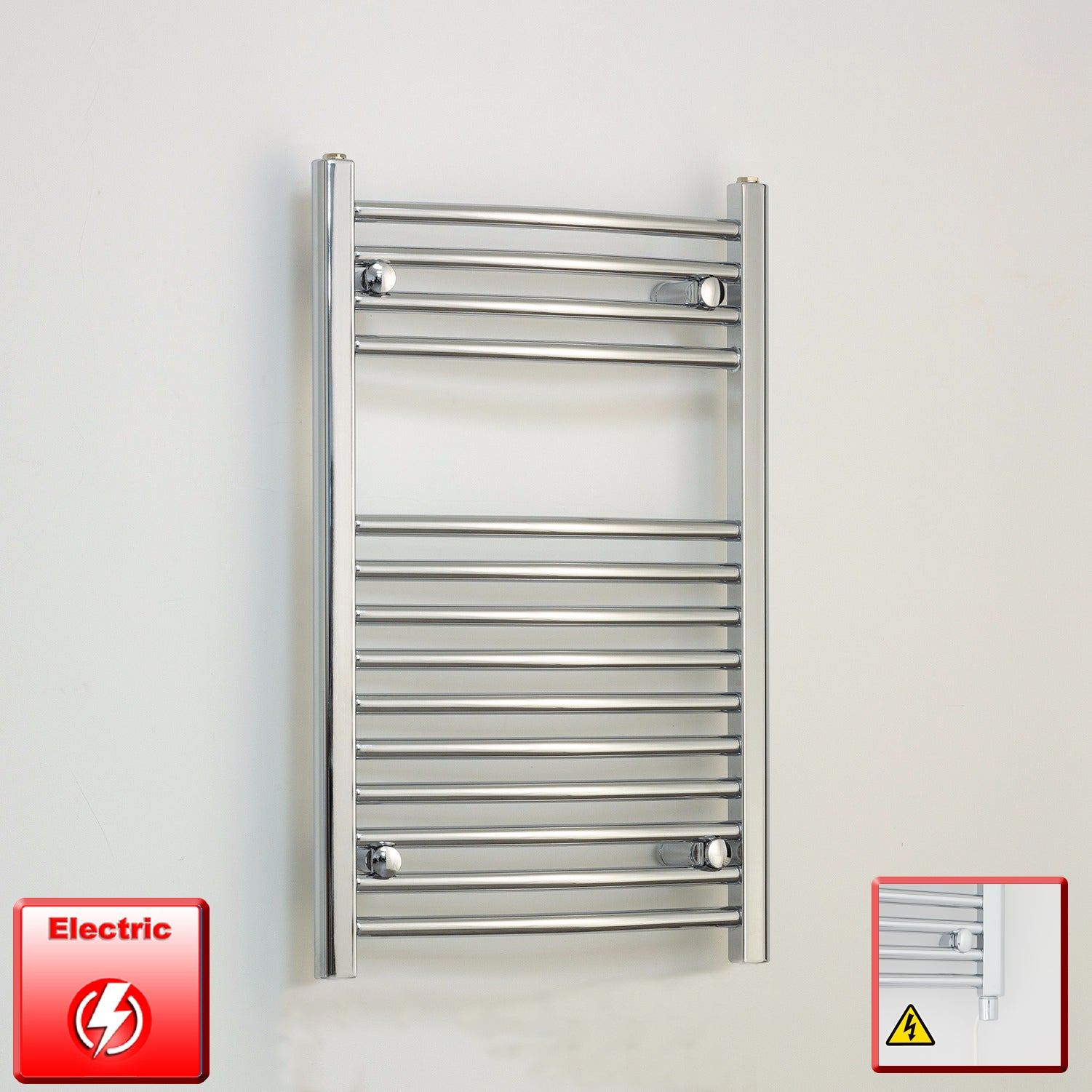 500mm Wide 800mm High Flat Or Curved Chrome Pre-Filled Electric Heated Towel Rail Radiator HTR,Straight / Single Heat Element