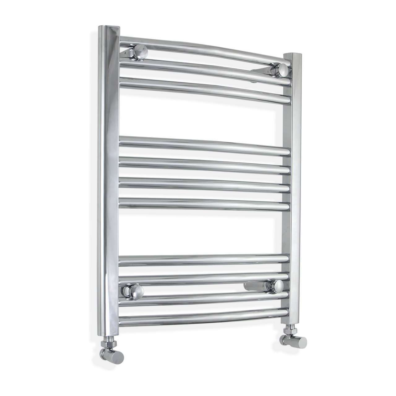 500mm Wide 600mm High Curved Chrome Heated Towel Rail Radiator HTR,With Angled Valve