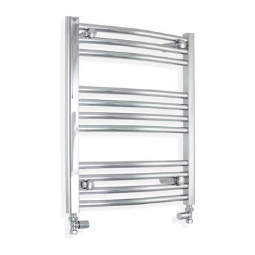500mm Wide 600mm High Curved Chrome Heated Towel Rail Radiator HTR,With Straight Valve