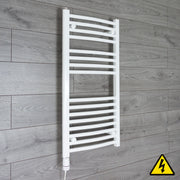 450mm Wide 900mm High Curved White Heated Towel Rail Radiator Gas or Electric,Pre-Filled Thermostatic Element