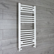 450mm Wide 900mm High Curved White Heated Towel Rail Radiator Gas or Electric,With Straight Valve