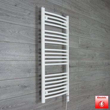 500mm Wide 1100mm High Flat or Curved WHITE Pre-Filled Electric Heated Towel Rail Radiator HTR,GT Thermostatic / Curved