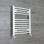500mm Wide 600mm High Curved White Heated Towel Rail Radiator Gas or Electric,With Angled Valve