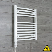 500mm Wide 600mm High Curved White Heated Towel Rail Radiator Gas or Electric,Pre-Filled Thermostatic Element