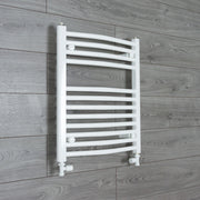 500mm Wide 600mm High Curved White Heated Towel Rail Radiator Gas or Electric,With Straight Valve