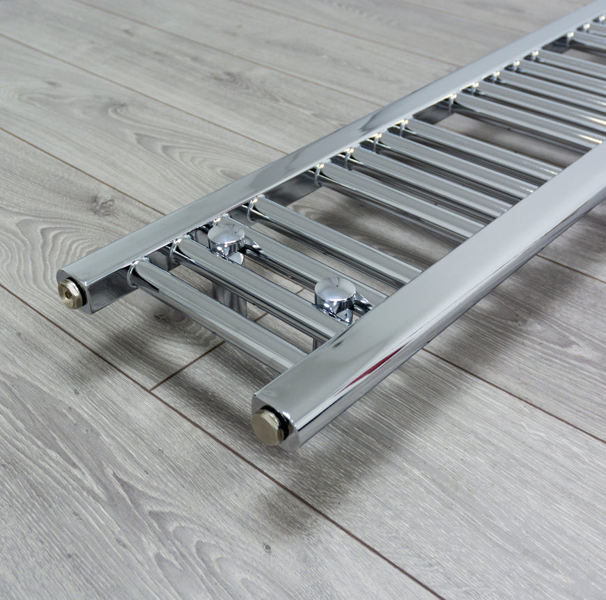 200mm Wide 800mm High Flat Chrome Heated Towel Rail Radiator