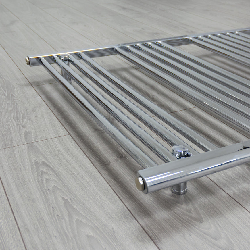 800mm Wide 800mm High Flat Chrome Heated Towel Rail Radiator HTR