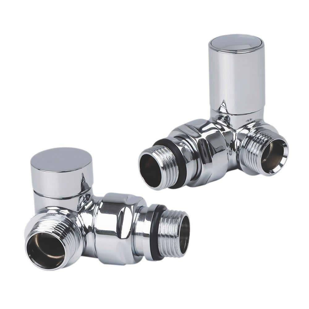 Chrome Corner Valve For Heated Towel Rail Radiator (Pair)
