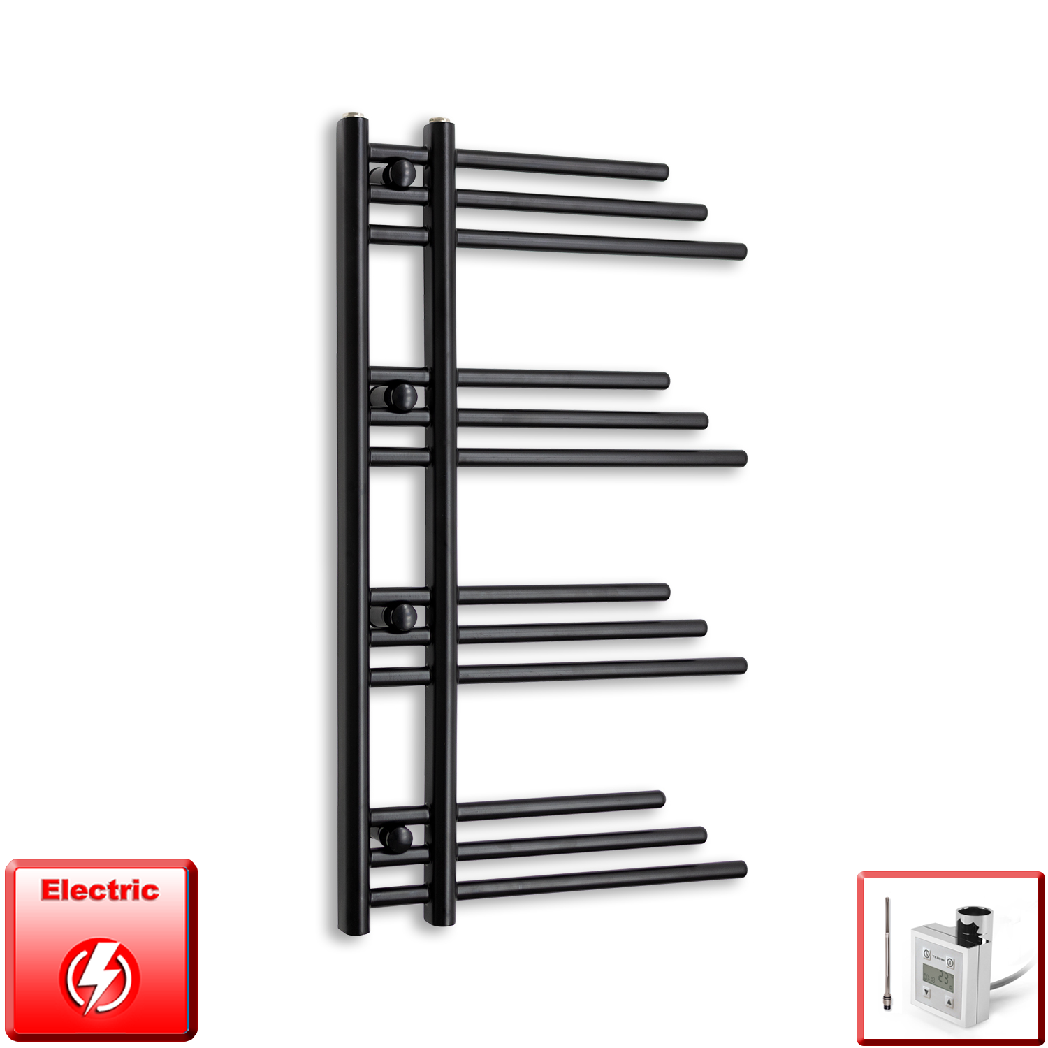 500mm Wide 900mm High Pre-Filled Black Electric Towel Rail Radiator With Thermostatic KTX3 Element