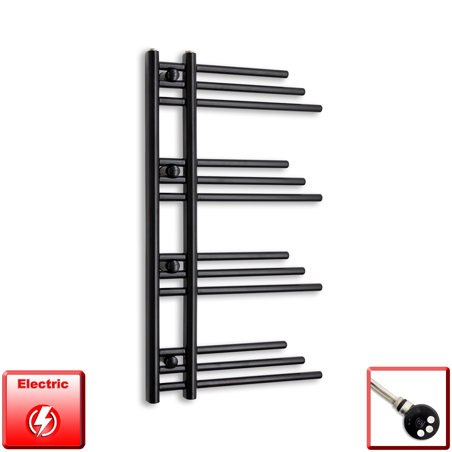 500mm Wide 900mm High Pre-Filled Black Electric Towel Rail Radiator With Thermostatic MEG Element
