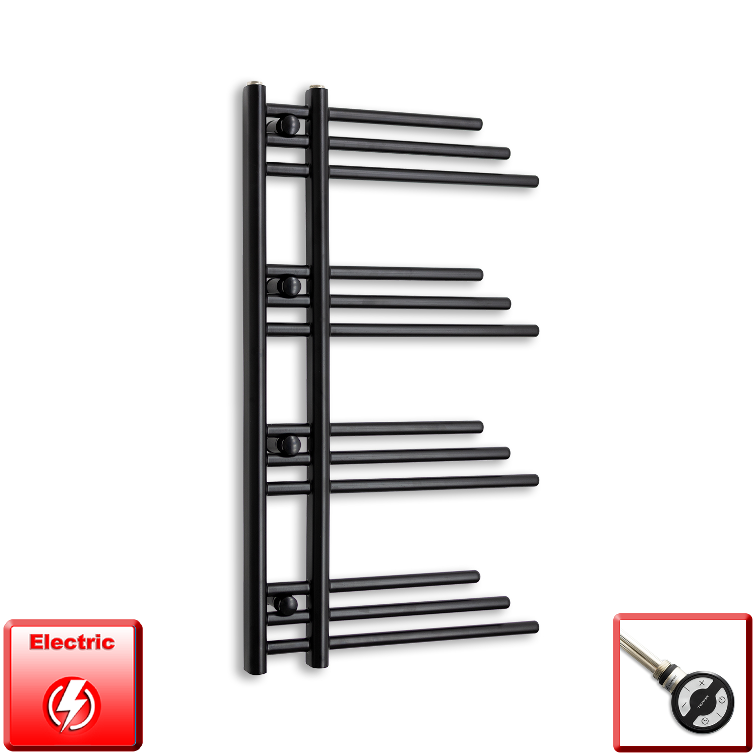 500mm Wide 900mm High Pre-Filled Black Electric Towel Rail Radiator With Thermostatic MOA Element