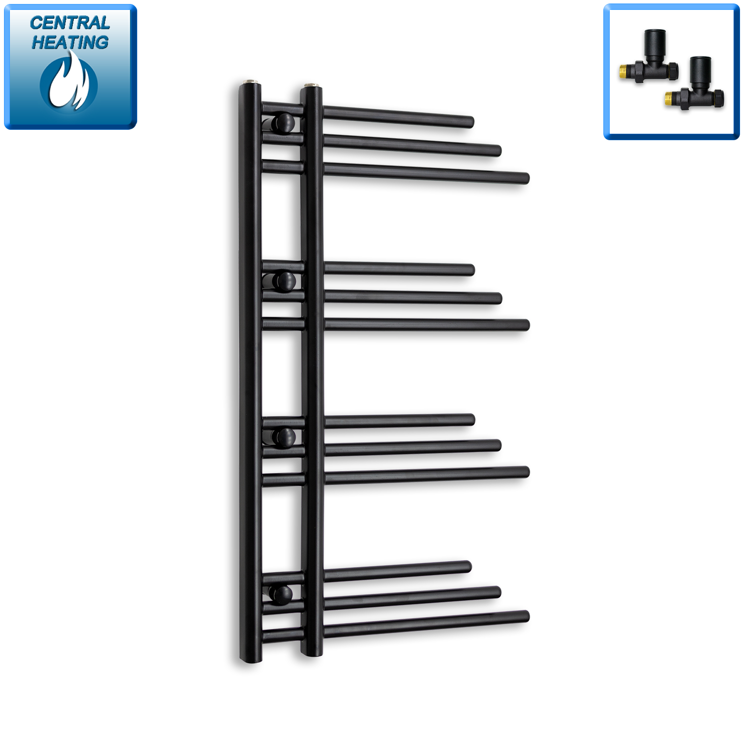 500mm Wide 900mm High Black Towel Rail Radiator With Straight Valve