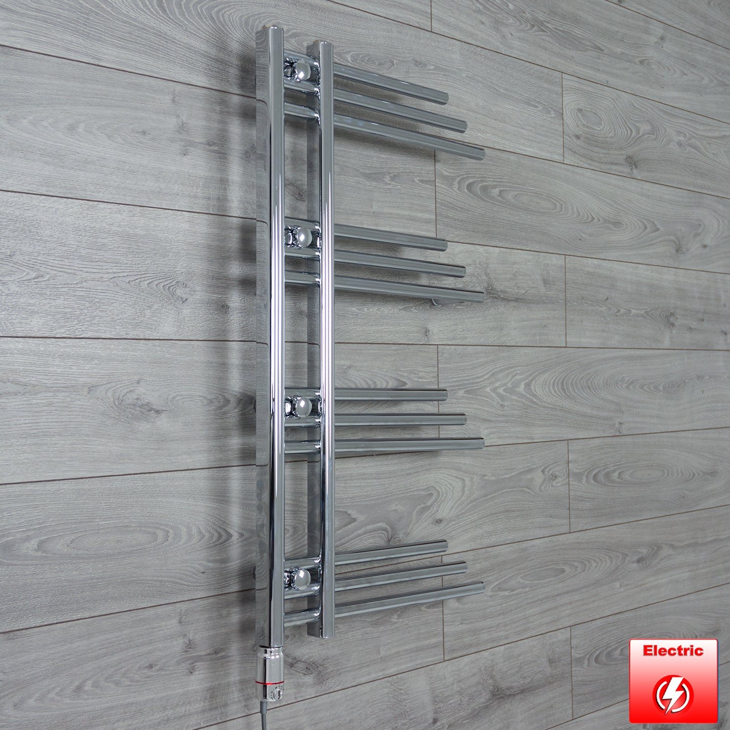 500mm Wide 900mm High Flat Chrome Pre-Filled Electric Heated Towel Rail Radiator HTR,GT Thermostatic