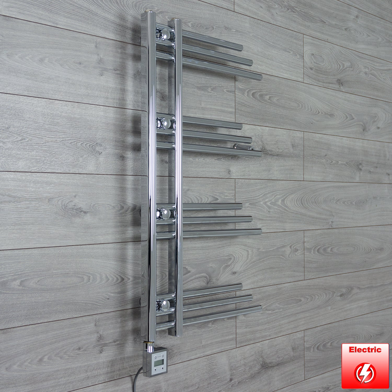 500mm Wide 900mm High Flat Chrome Pre-Filled Electric Heated Towel Rail Radiator HTR,KTX-3 Thermostatic Element