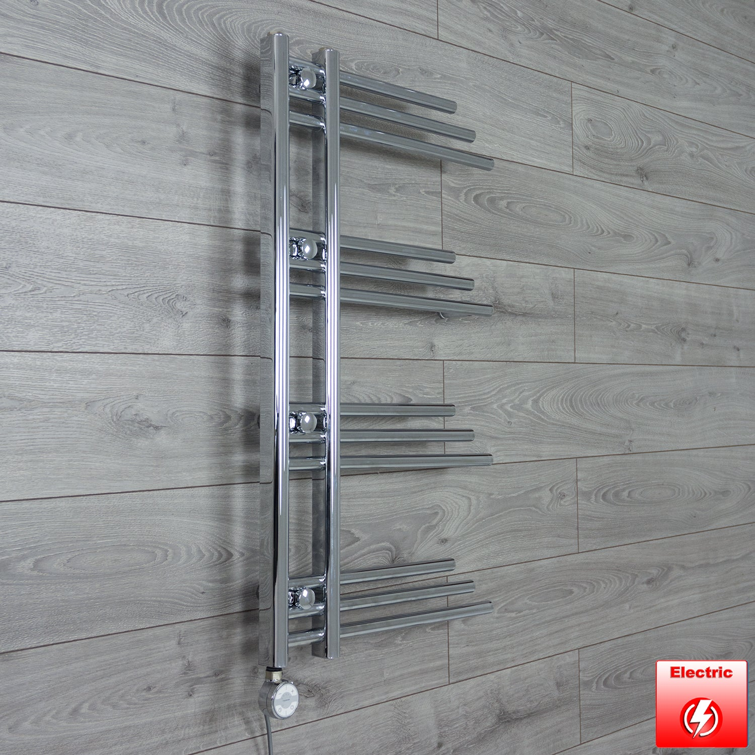 500mm Wide 900mm High Flat Chrome Pre-Filled Electric Heated Towel Rail Radiator HTR,MOA Thermostatic Element