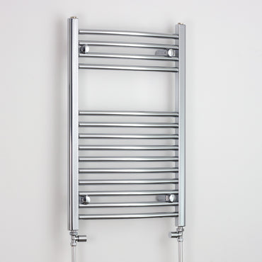 600mm Wide 800mm High Curved Chrome Heated Towel Rail Radiator HTR