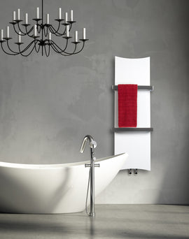 300mm Wide 1200mm High White, Black or Red Designer Heated Towel Rail Radiator Bone Style HTR,WHITE