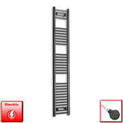 300mm Wide 1800mm High Flat Black Pre-Filled Electric Heated Towel Rail Radiator HTR,DIGI Thermostatic