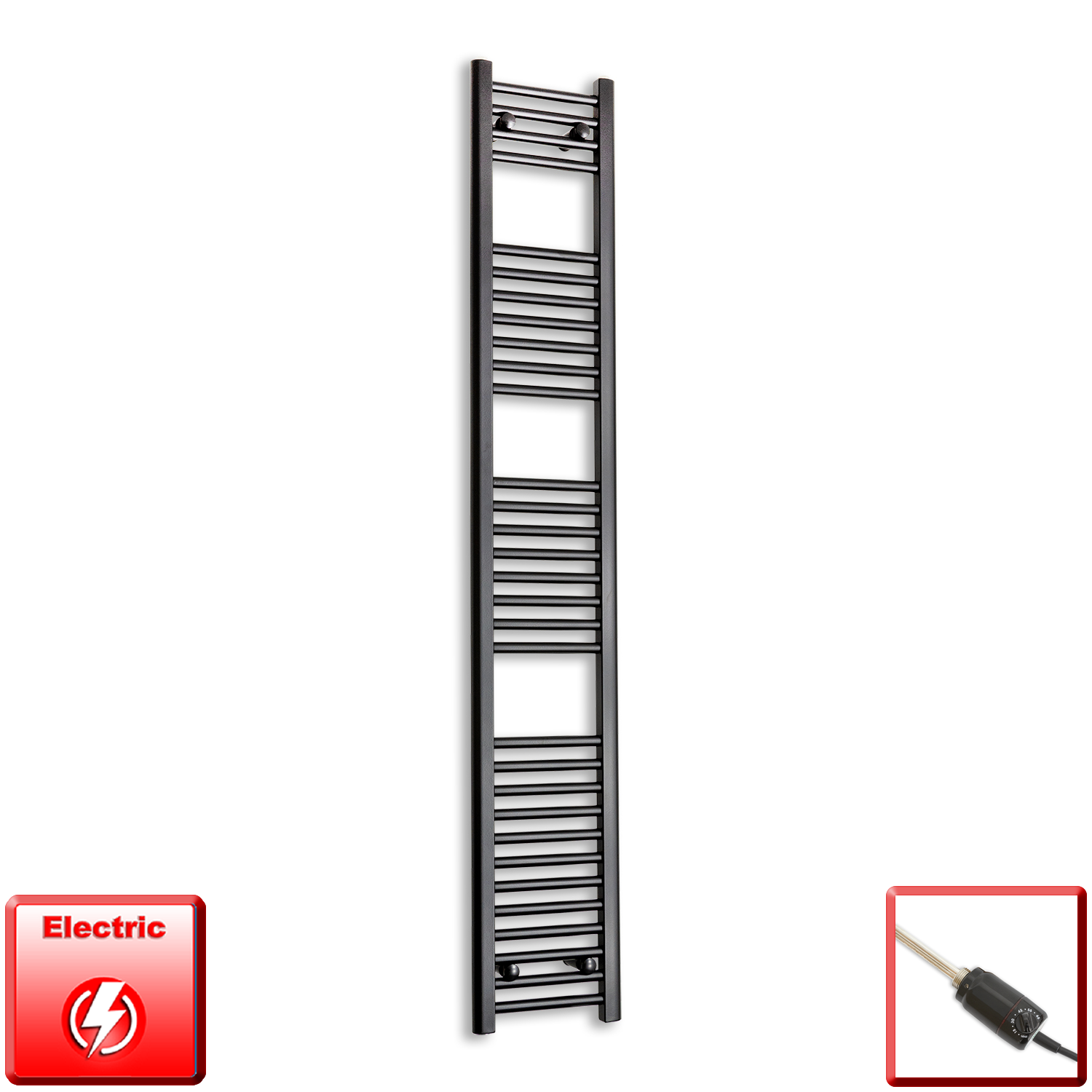 300mm Wide 1800mm High Flat Black Pre-Filled Electric Heated Towel Rail Radiator HTR,GT Thermostatic