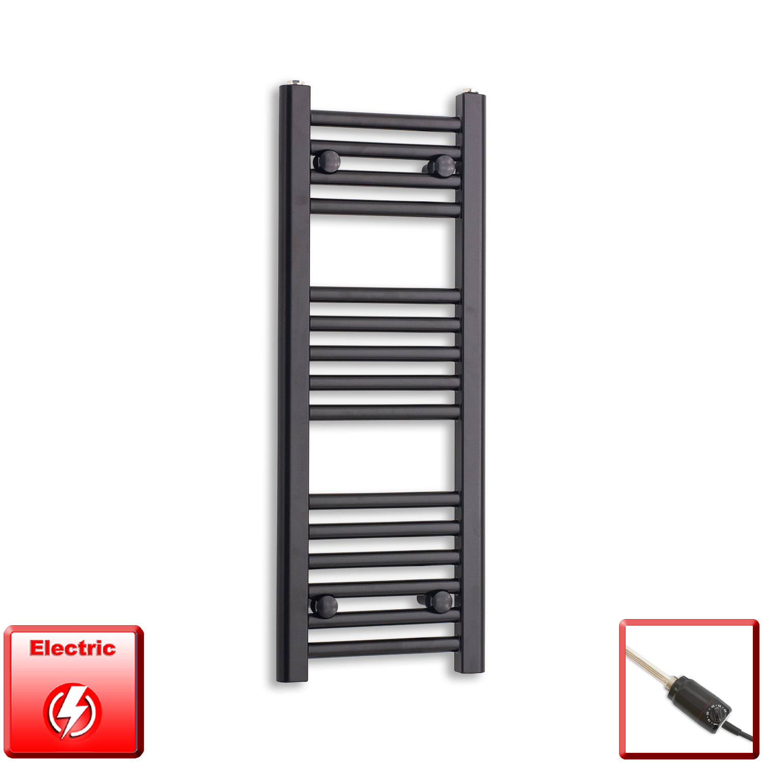 300mm Wide 800mm High Flat Black Pre-Filled Electric Heated Towel Rail Radiator HTR,GT Thermostatic