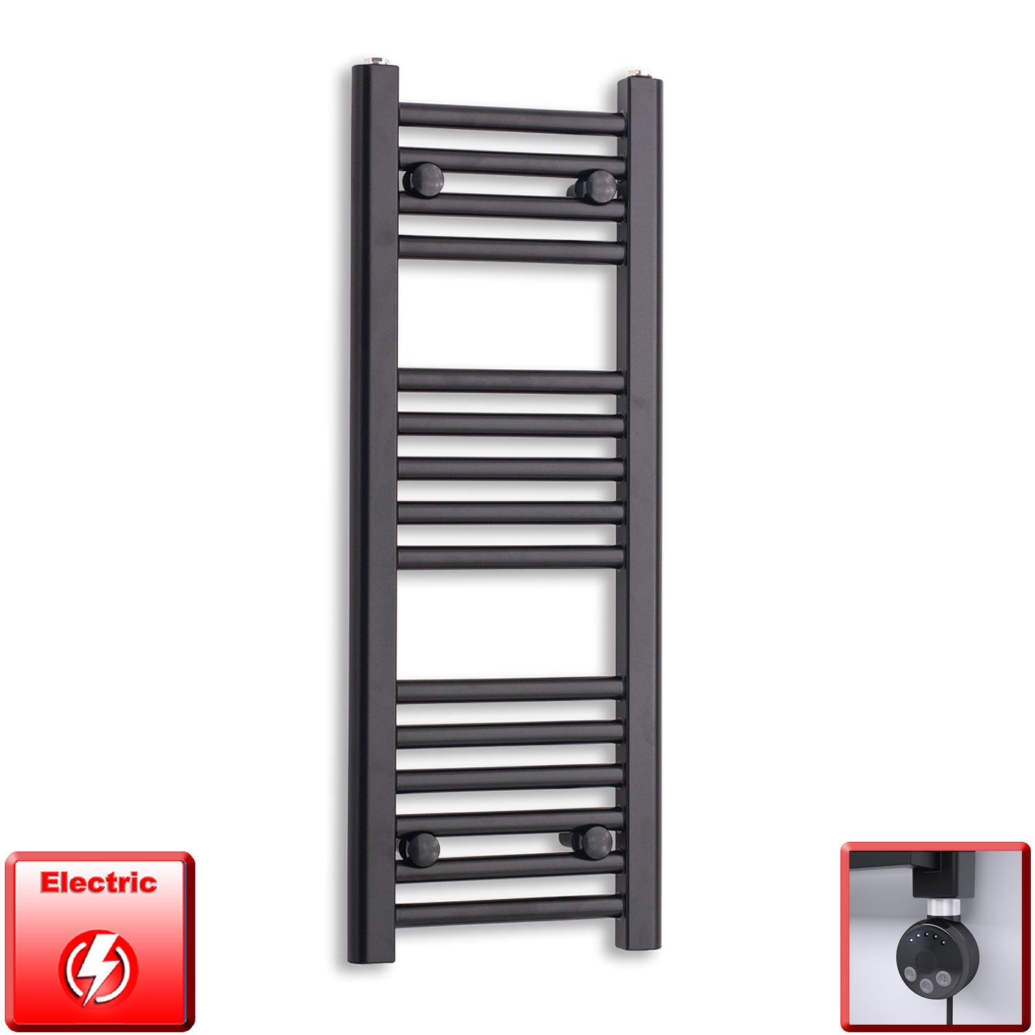 300mm Wide 800mm High Flat Black Pre-Filled Electric Heated Towel Rail Radiator HTR,MEG Thermostatic Element
