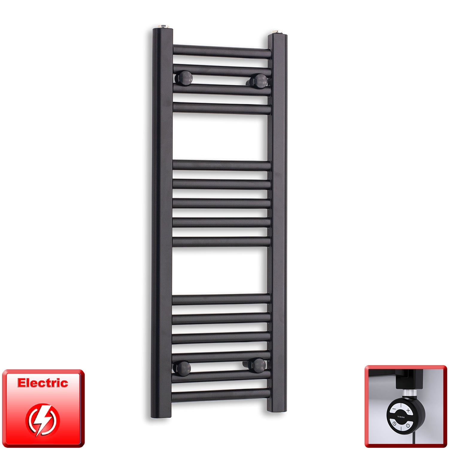 300mm Wide 800mm High Flat Black Pre-Filled Electric Heated Towel Rail Radiator HTR,MOA Thermostatic Element