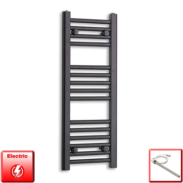 300mm Wide 800mm High Flat Black Pre-Filled Electric Heated Towel Rail Radiator HTR,Single Heat Element