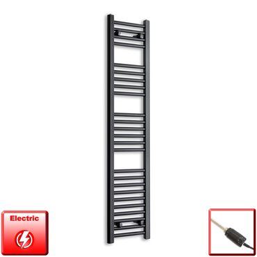 300mm Wide 1400mm High Flat Black Pre-Filled Electric Heated Towel Rail Radiator HTR,GT Thermostatic