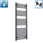 600mm Wide 1400mm High Flat Black Heated Towel Rail Radiator,With Angled Valve