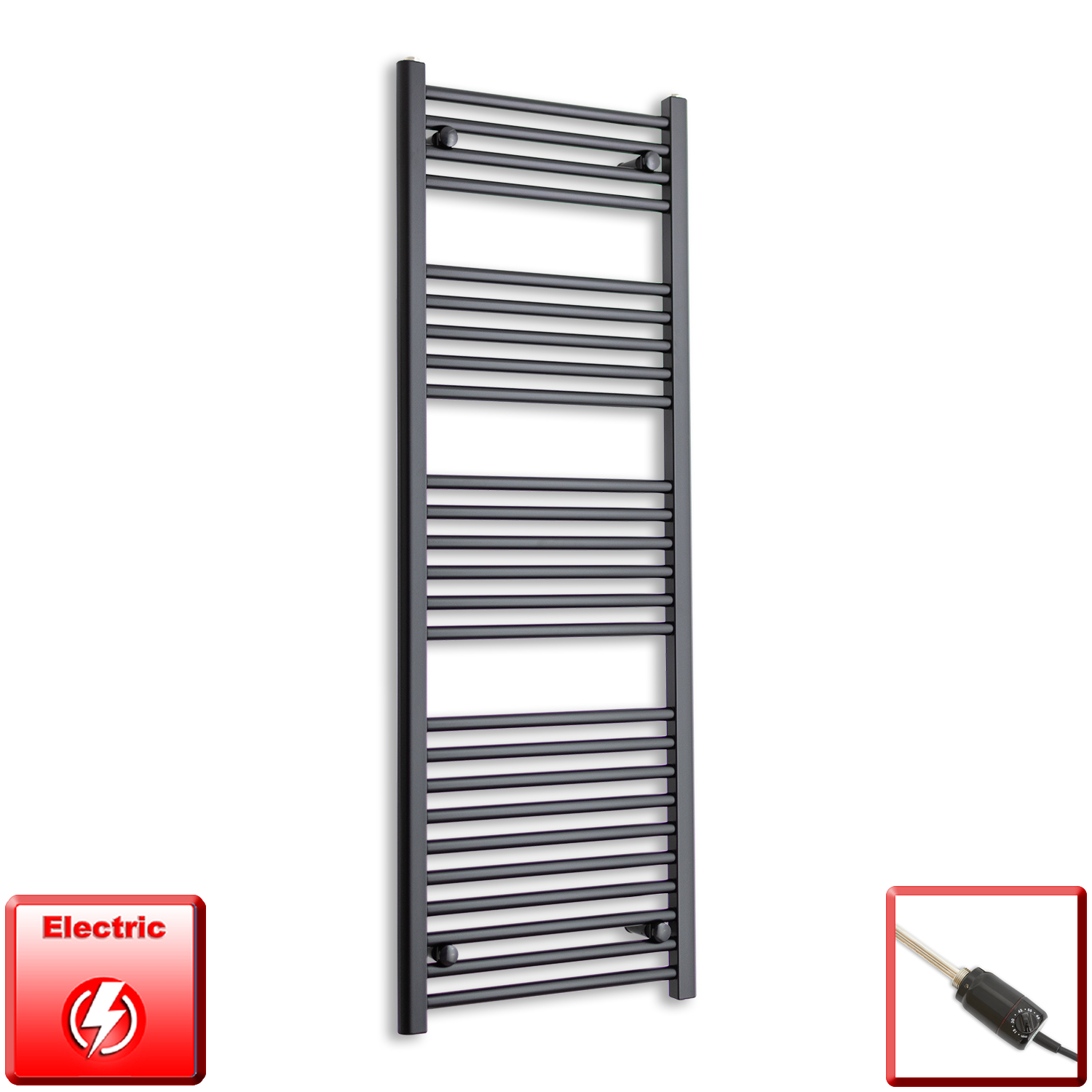 600mm Wide 1400mm High Flat Black Pre-Filled Electric Heated Towel Rail Radiator HTR,GT Thermostatic