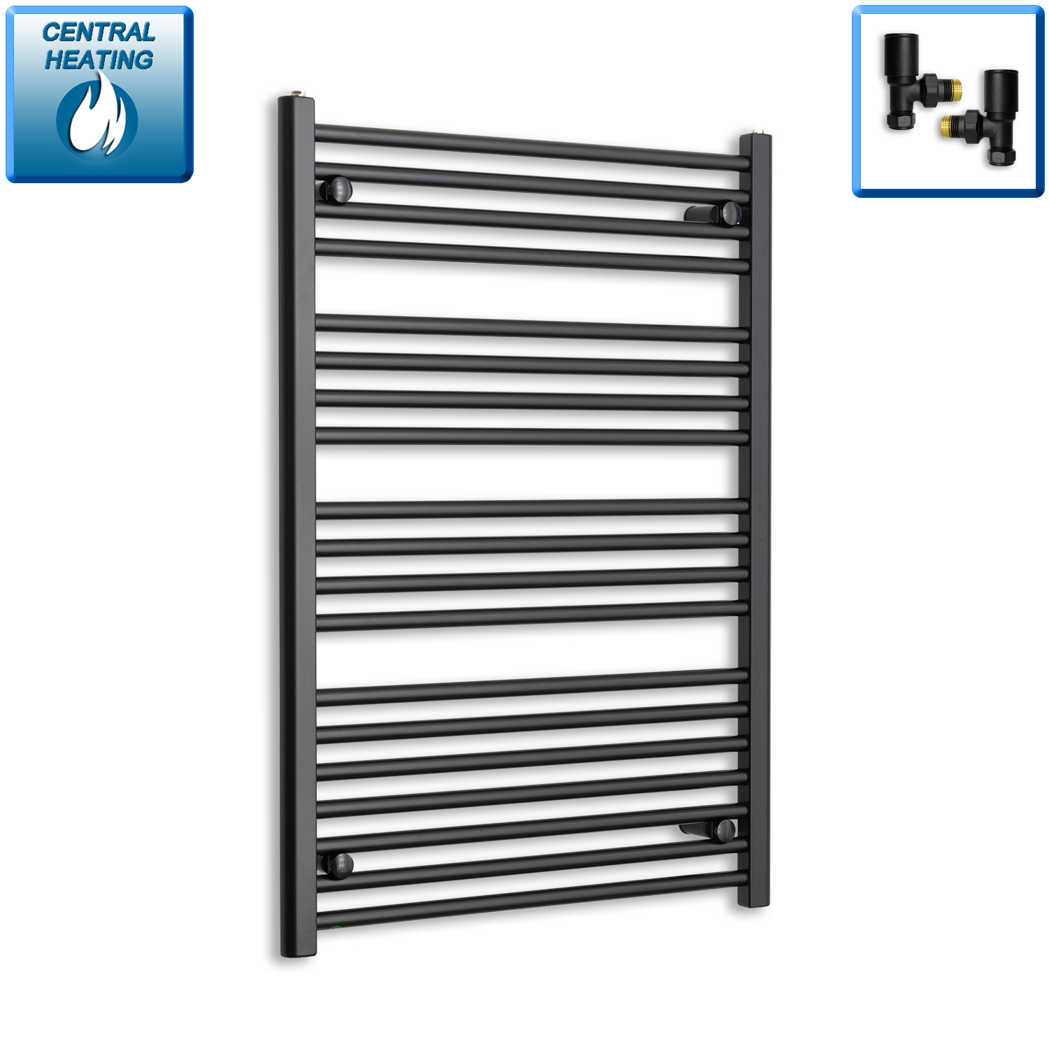 700mm Wide 1000mm High Flat Black Heated Towel Rail Radiator HTR,With Angled Valve
