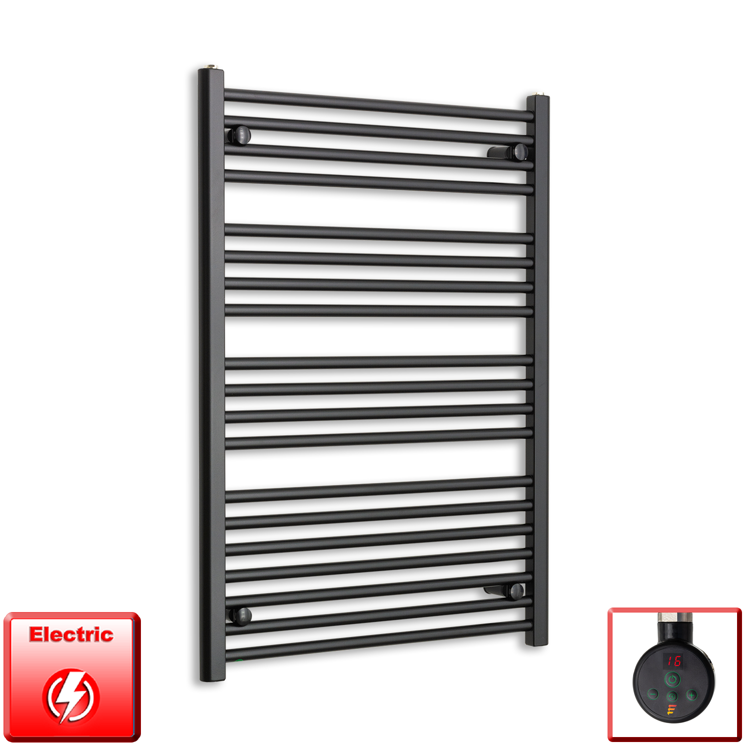 700mm Wide 1200mm High Flat Black Pre-Filled Electric Heated Towel Rail Radiator HTR,Eco Digi Thermostatic