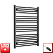 700mm Wide 1000mm High Flat Black Pre-Filled Electric Heated Towel Rail Radiator HTR,GT Thermostatic