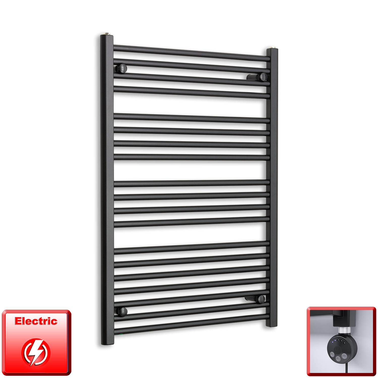 700mm Wide 1000mm High Flat Black Pre-Filled Electric Heated Towel Rail Radiator HTR,MEG Thermostatic Element