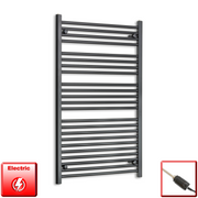 700mm Wide 1200mm High Flat Black Pre-Filled Electric Heated Towel Rail Radiator HTR,GT Thermostatic