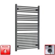700mm Wide 1200mm High Flat Black Pre-Filled Electric Heated Towel Rail Radiator HTR,MEG Thermostatic Element