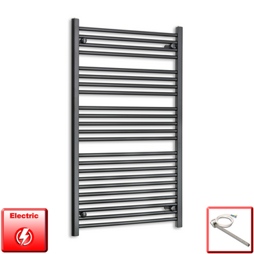 700mm Wide 1200mm High Flat Black Pre-Filled Electric Heated Towel Rail Radiator HTR,Single Heat Element