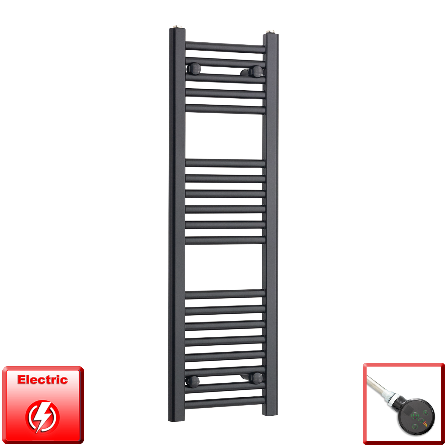 300mm Wide 1000mm High Flat Black Pre-Filled Electric Heated Towel Rail Radiator HTR,DIGIThermostatic