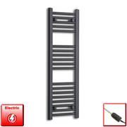 300mm Wide 1000mm High Flat Black Pre-Filled Electric Heated Towel Rail Radiator HTR,GT Thermostatic