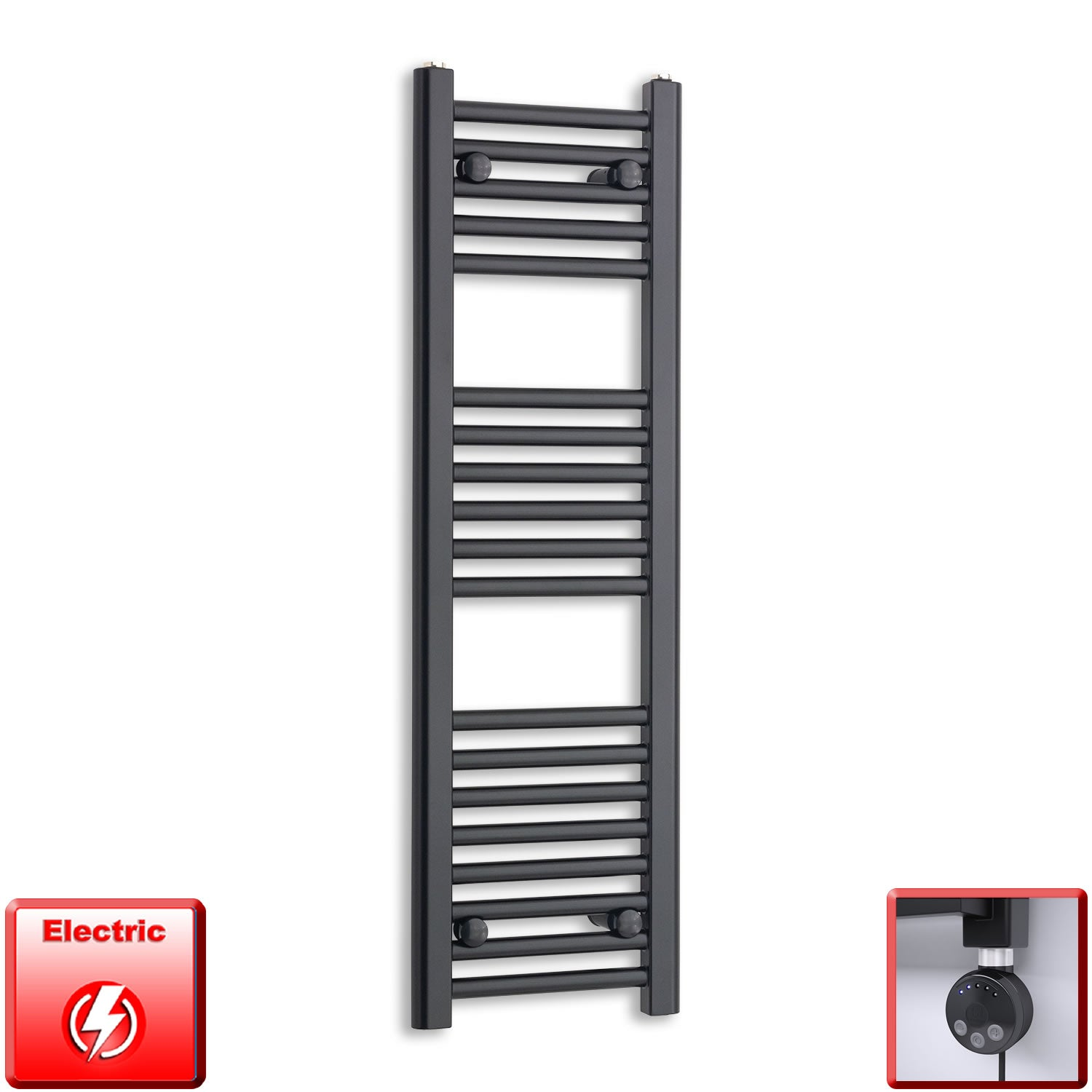 300mm Wide 1000mm High Flat Black Pre-Filled Electric Heated Towel Rail Radiator HTR,MEG Thermostatic Element