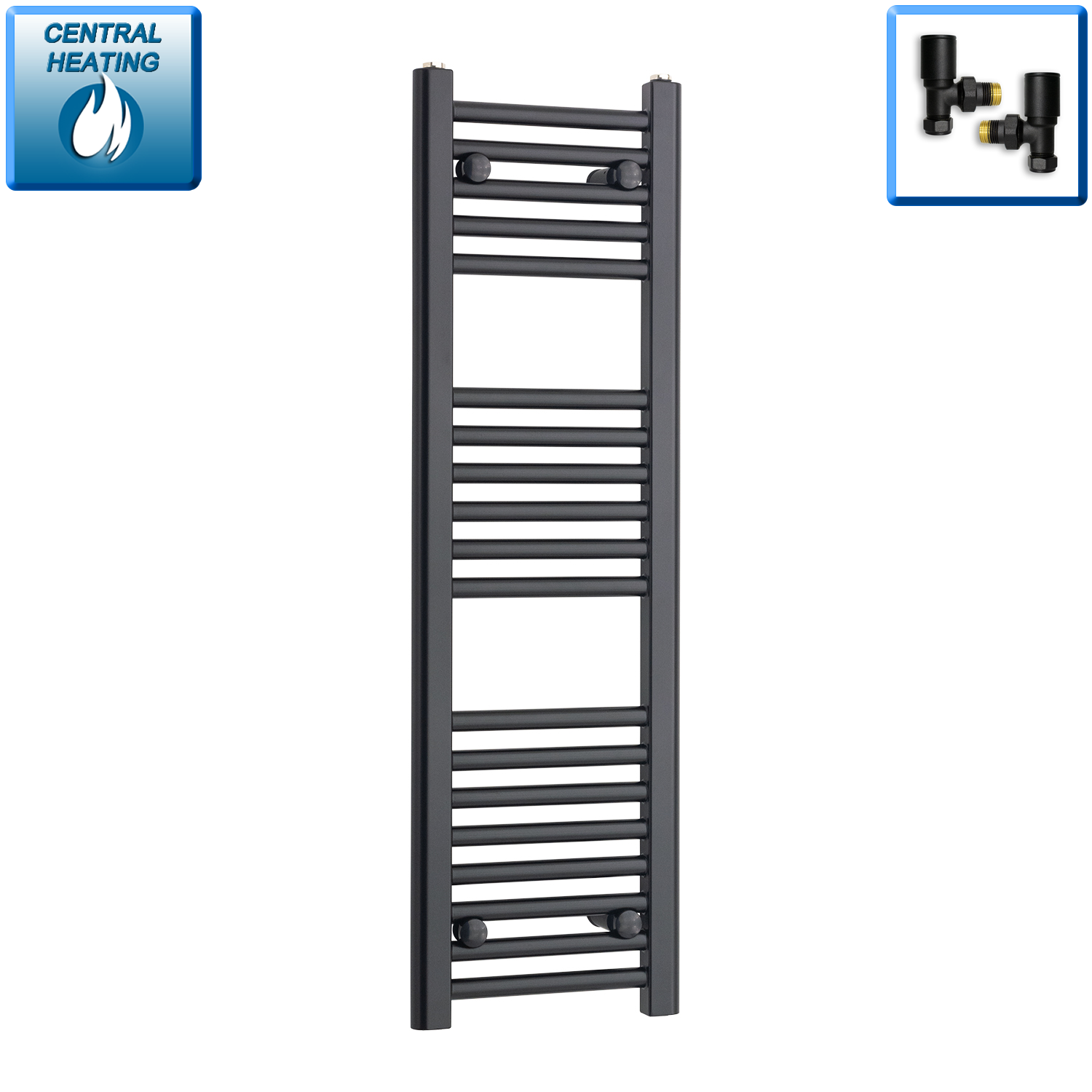 300mm Wide 1000mm High Flat Black Heated Towel Rail Radiator,With Angled Valve
